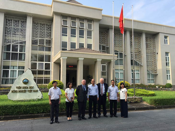 Prof Gerry Boyle and Dr Frank O'Mara during a recent visit to Vietnam on the invitation of the Irish Embassy in Hanoi, with staff members of The Vietnam Academy of Agricultural Sciences (VAAS) Headquarters in Hanoi, Dr Jim Fitzpatrick, Consultant to Irish Aid and Ms Nguyen Thi Huong, Bilateral Relations Advisor, Irish Embassy Hanoi.