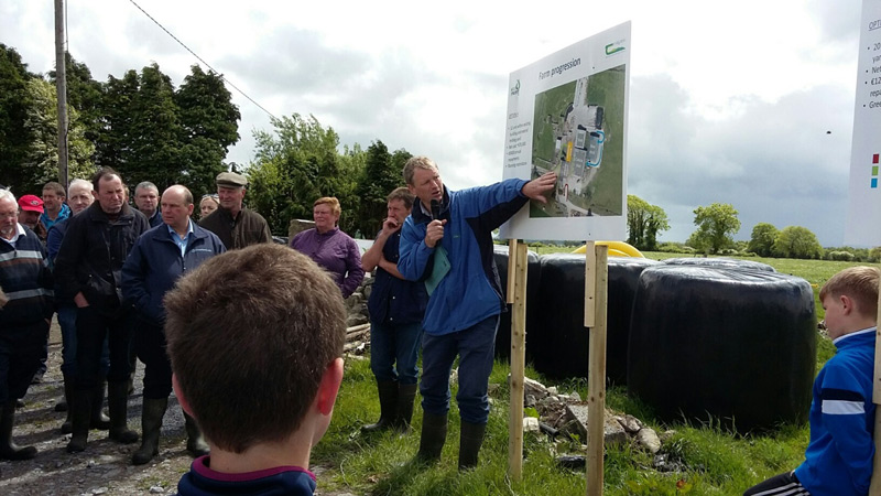 Pat Clarke outlining possible locations for a milking parlour on Charlie Whiriskey's farm