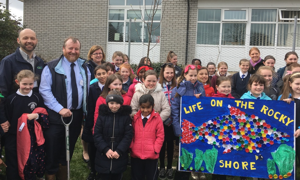 March 21, Convent Primary School, Mallow, Co Cork. John Casey and John Horgan, Teagasc planting a tree with the green schools committee of Convent Primary School, Mallow, ably assisted by Maureen Walsh, Principal and Eve Maxwell, committee co-ordinator.