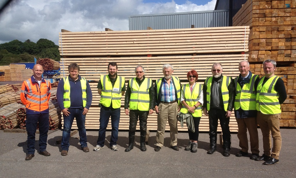 Members of the Limerick & Tipperary Woodland Owners (LTWO) on a visit to the GP Wood sawmill in Lissarda, Co Cork, followed by discussions with the Cork-based Forest Owners Co-operative Society (FOCS). John Casey and Michael Somers, Forestry Advisers, to the far left and right of the picture, respectively.
