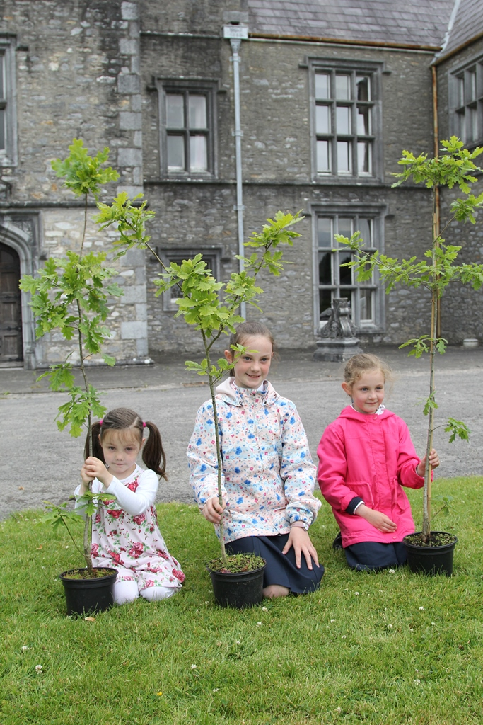 Aoife, Orla and Derbhla are helping out at the launch of the Mallow NeighbourWood Project at Mallow Castle