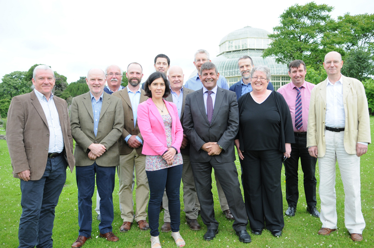 Andrew Doyle TD, Minister of State at the Department of Agriculture, Food and the Marine with speakers and organisers of the National Conference on Forest Management Certification for the Private Grower in Ireland held in the National Botanic Gardens, Glasnevin, Dublin 9