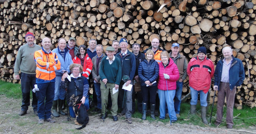 A well-attended forest management walk held on 19.04.17 in Kilmacthomas, Co Waterford. Organised by John Casey, Teagasc (on left), in co-operation with the Waterford Forest Owner Group.