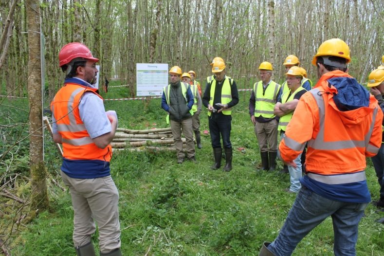 Figure 8. Dr Ian Short discussing 2nd thinning of ash at a demonstration day.