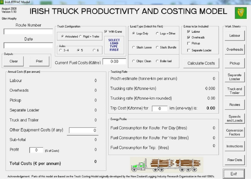 Software used to calculate Irish truck productivity and costing model (courtesy: Enda Coates)