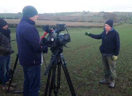 Catchment farmer, Alan Kieran being interviewed about his good farming practices