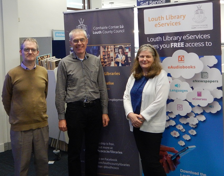 Tom O'Connell (middle) with Derek Byrne and Anne Keaveney, County Louth Library Service