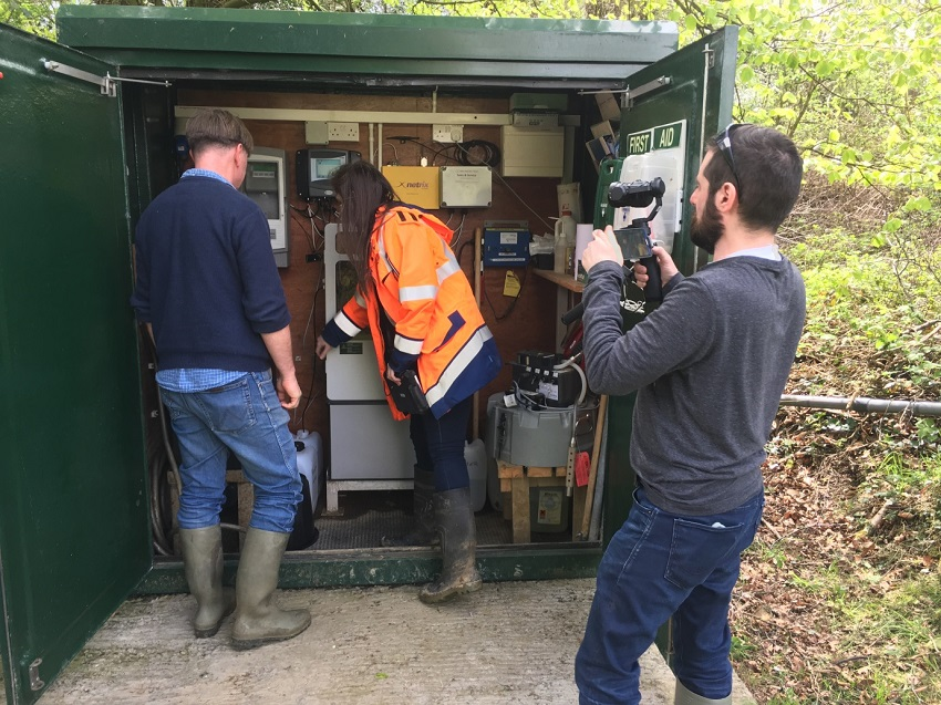 Filming by Frank Reid at the Castledockerell outlet - Per-Erik and Aoife Stafford catchment technician.