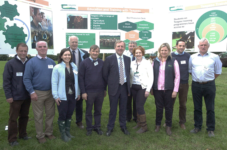 Minister for Agriculture, Food and the Marine, Michael Creed, TD pictured with Tom Kelly,  Director of Knowledge Transfer, along with the Education and Training Staff, Teagasc  were pictured at the Beef 2016 Open Day at Teagasc, Grange, on Tuesday, 5 July.